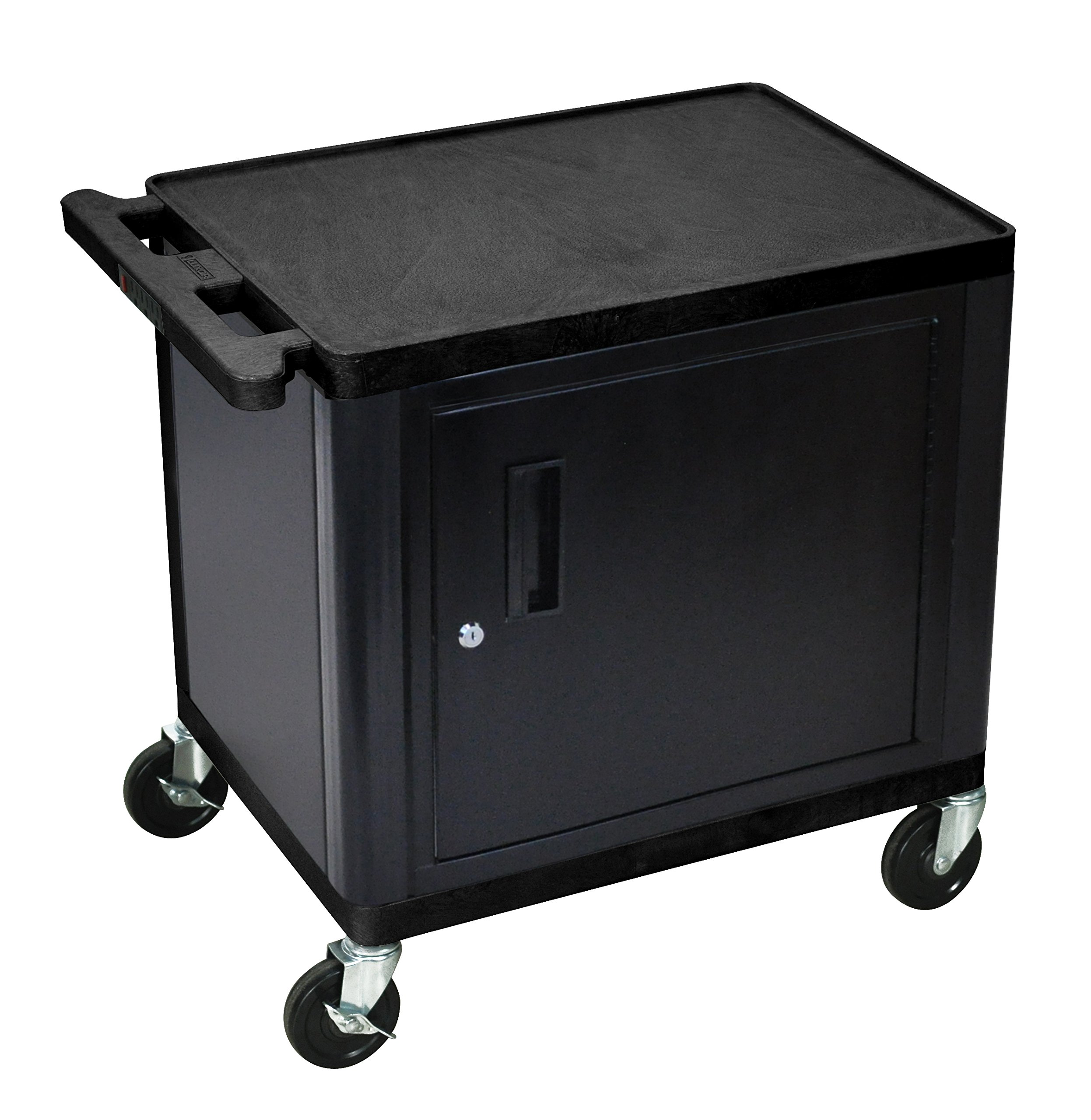 LUXOR LP26CE-B 2-Shelf A/V Cart with Cabinet, 26'' Height, Black