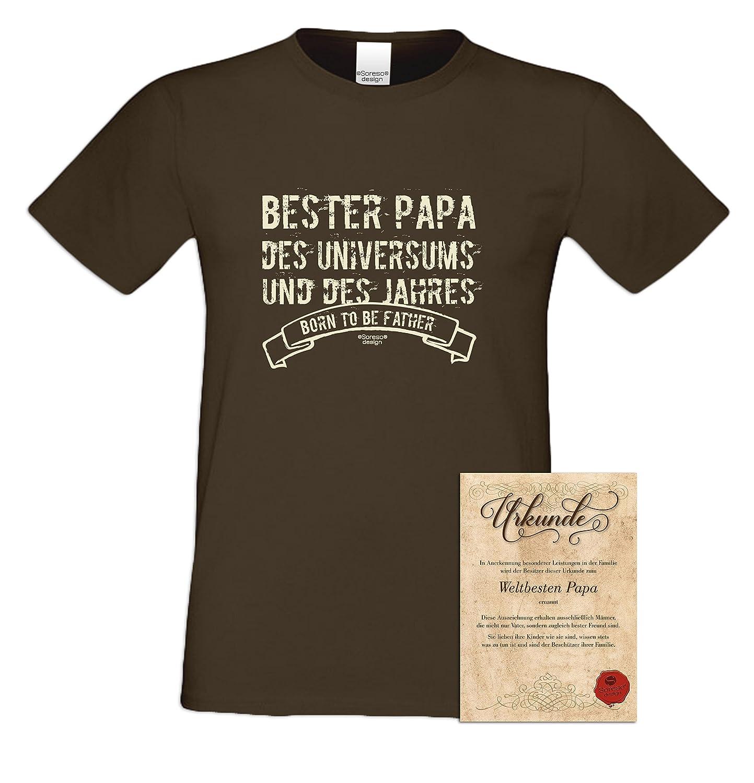 Bester Papa des Universums Geschenk-Set: Herren Kurzarm T-Shirt inkl.  Urkunde - Geschenkidee zum Geburtstag Geburtstagsgeschenk  Weihnachtsgeschenk für Väter ...