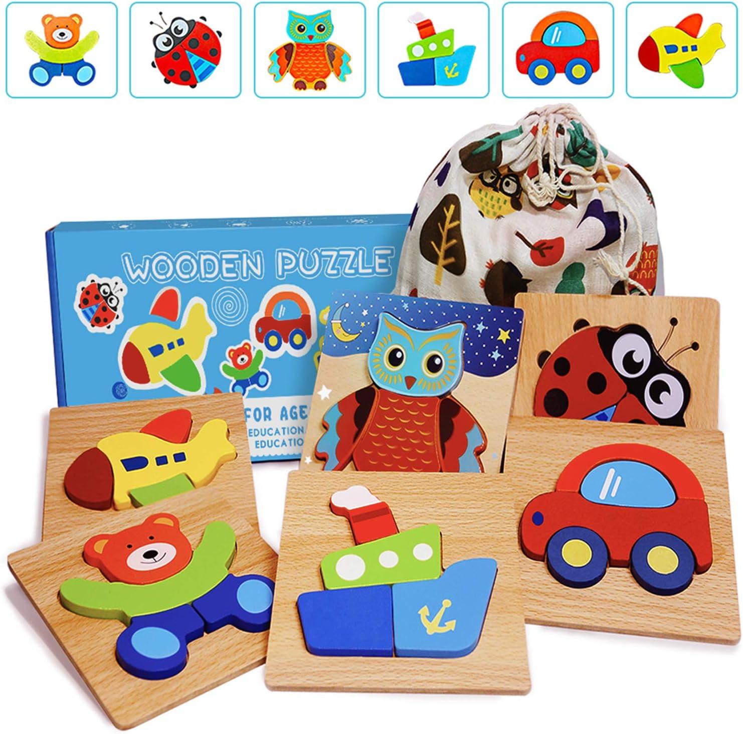 IMMEK Puzzles de Madera Educativos para Bebé, Juguetes Bebes 1 años 2 años 3 años,Juguetes niños 1 años 2 años 3 años, Dibujo de Animal Colorido con Placa, Regalo de cumpleaños, Navidad