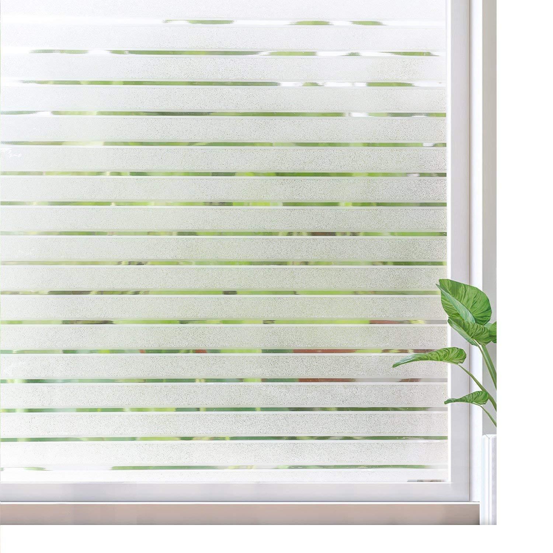 Rabbitgoo Window Clings Privacy Etched Glass Window Film Window Frosting Film Non-Adhesive Window Stickers, 44.5x150cm (Frosted Stripe,17.5 x 59) 17.5 x 59) GLOBEGOU CO. LTD