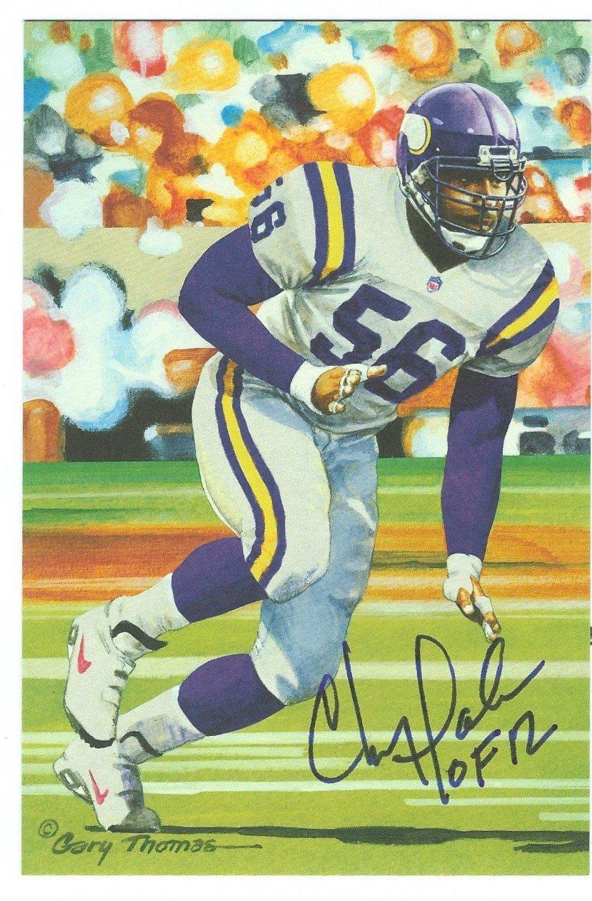 Autographed Chris Doleman Minnesota Vikings Goal Line Art Card