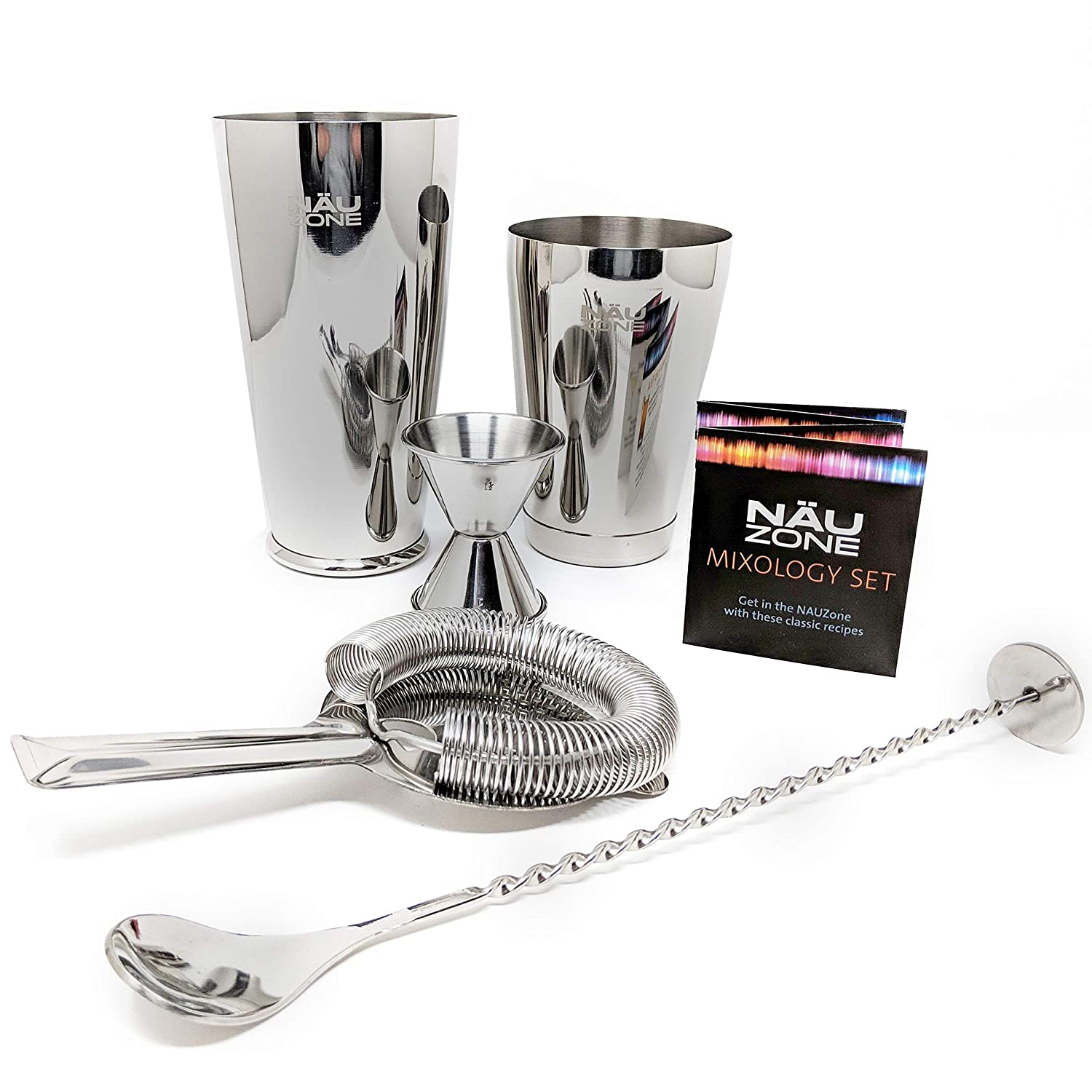 Professional Bartender Set | 5 Piece Restaurant Quality 28 oz Weighted Bottom Boston Cocktail Shaker Bar Kit. Bar Set Includes Essential Barware Tools to make any Mixed Drink | Deluxe Packaging