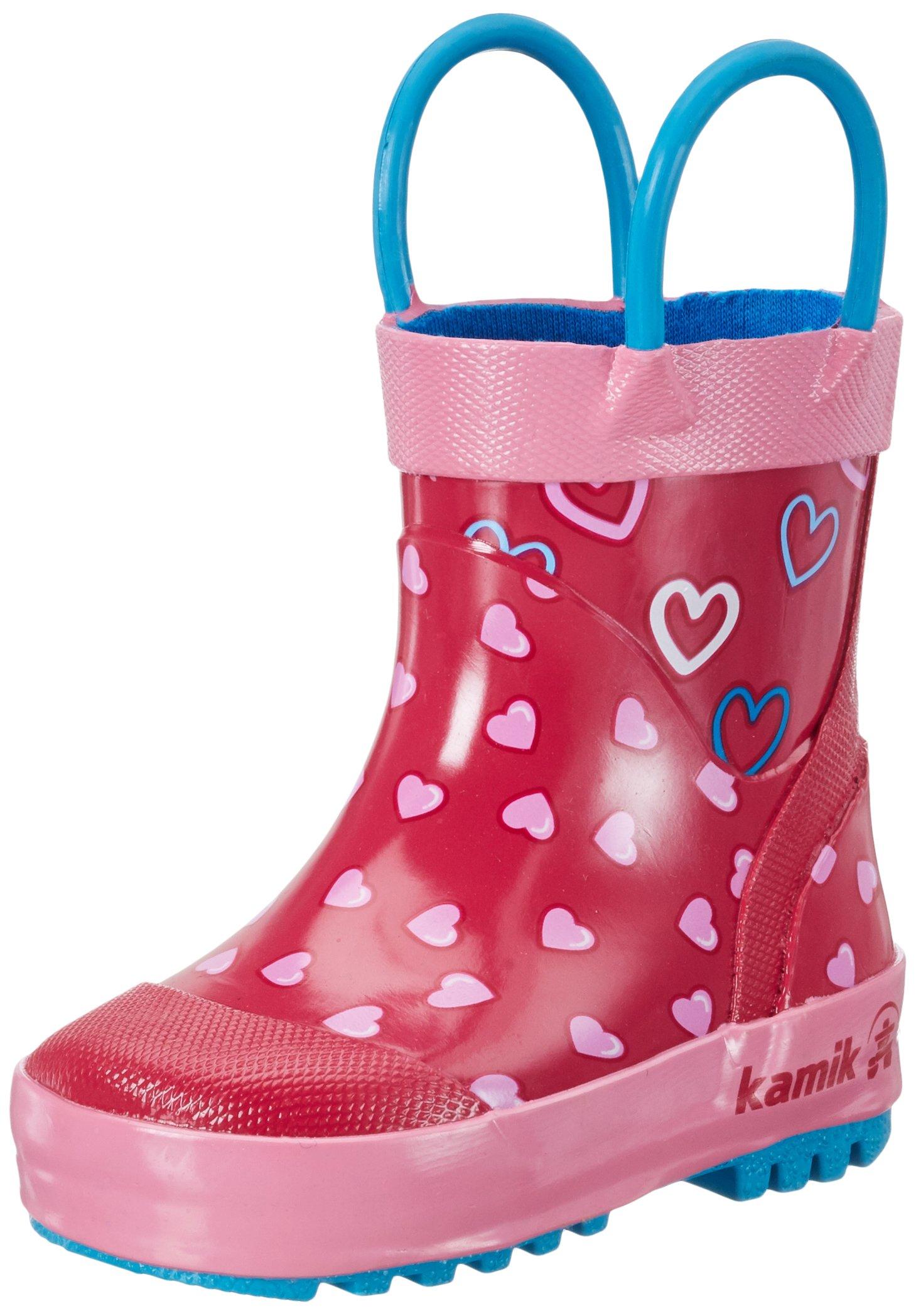 Kamik Girls' Cherish Rain Boot, Bright Rose, 13 M US Little Kid