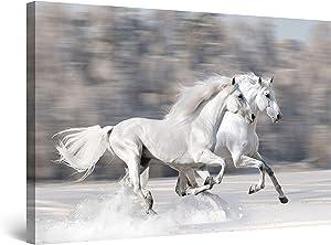 Startonight Canvas Wall Art - Horses Running Fast, Animals Framed 32 x 48 Inches
