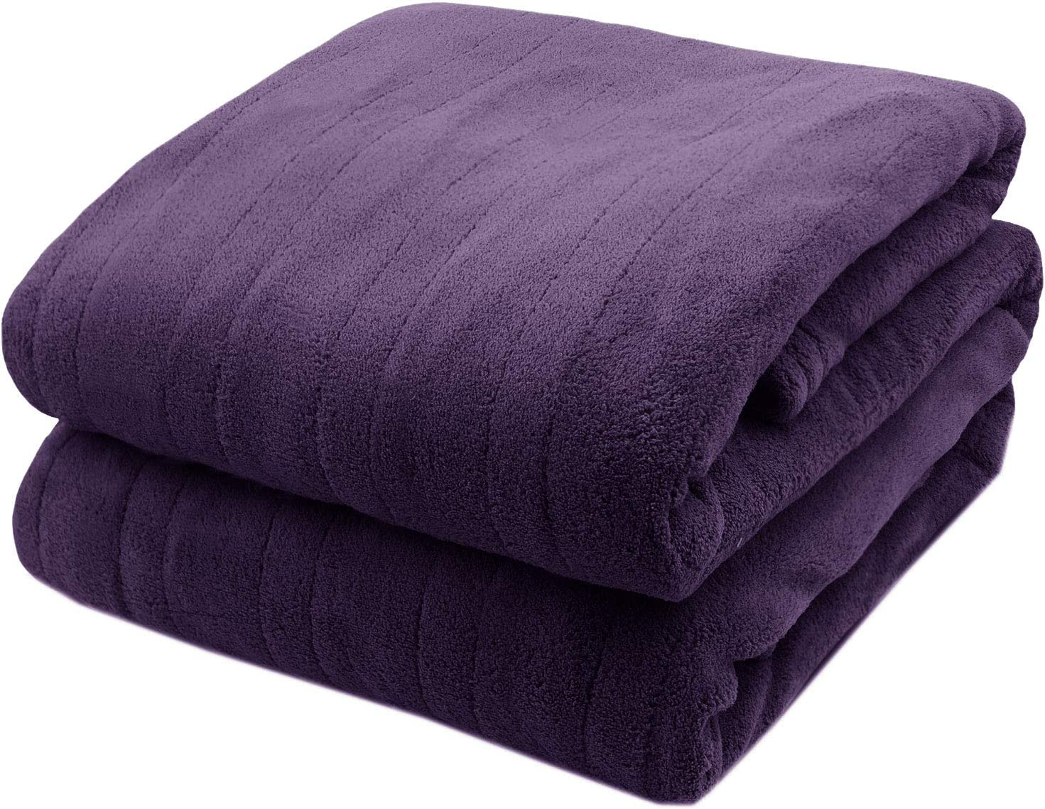 Biddeford Microplush Electric Heated Warming Blanket Queen Midnight Purple Washable Auto Shut Off 10 Heat Settings