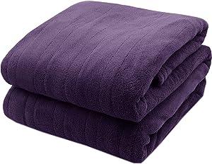 Biddeford Microplush Electric Heated Warming Blanket Queen Midnight Purple Washable Auto Shut Off 10 Heat Settings