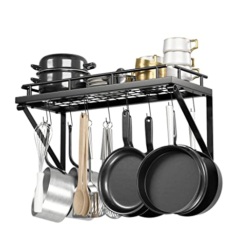 Pot Rack Organizer with Upgraded Hardware, Support Brackets & Welds, Wall  Hanging Pot and Pan Organizer, 12 Hooks Included, Easy to Install, Kitchen  ...