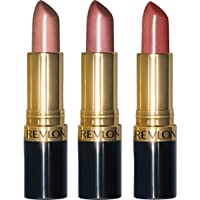 Revlon Super Lustrous Lipstick, 3 Piece Gift Set (Blushed, Champagne on Ice, Toast of New York)