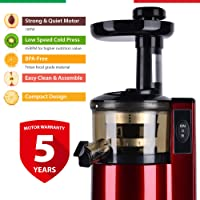 Balzano ZZJ820 180-Watt Cold Press Slow Juicer (Red)