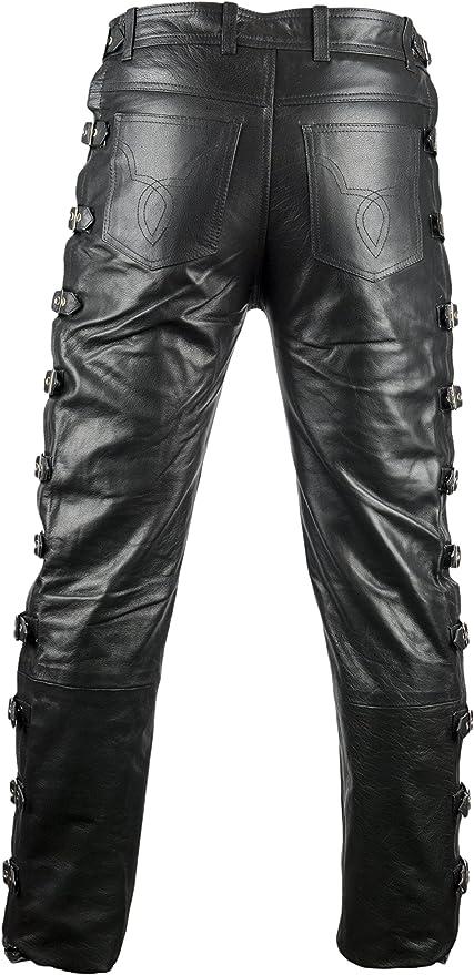 Mdm Mdm Biker Lederhose Mit Schnallen Bikerjeans Lederjeans Motorrad Lederhose Jeanshosen Bekleidung
