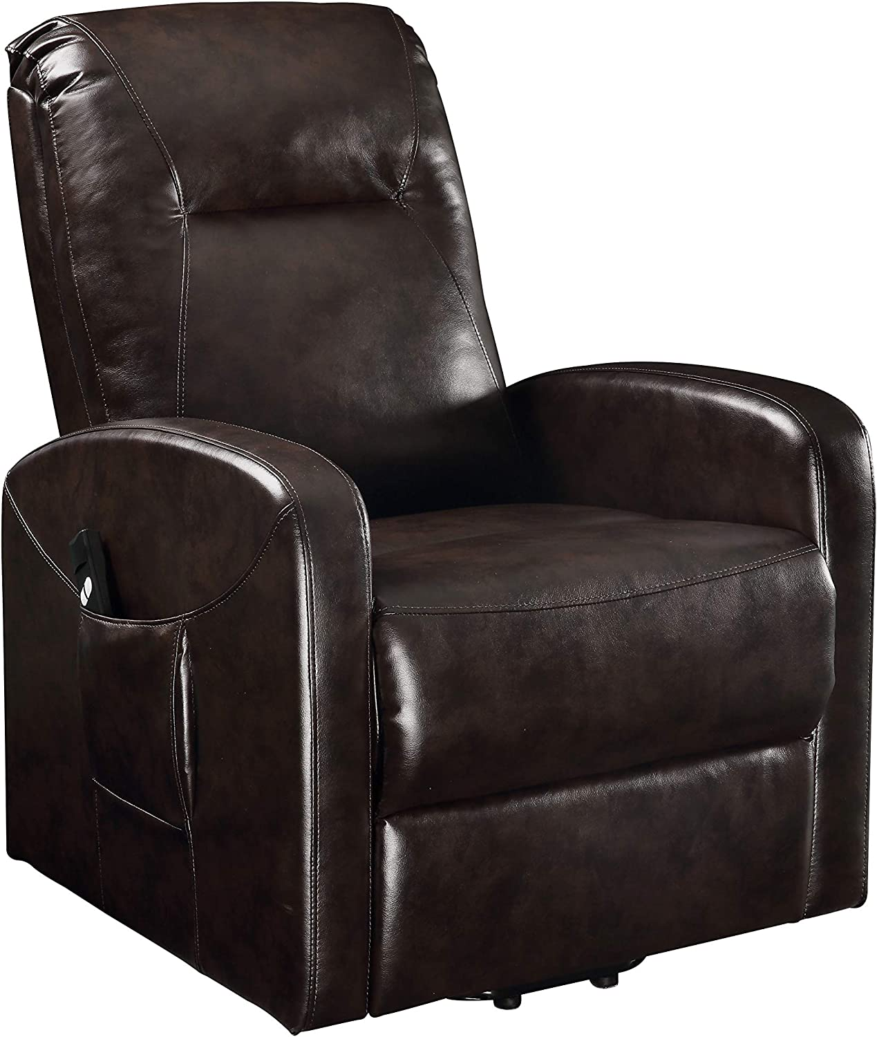 : Benjara, Brown Faux Leather Upholstered Wooden