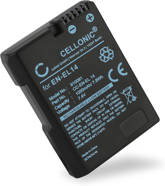 CELLONIC/® Chargeur MH-24 Compatible avec Nikon D5600 D5500 D5300 D5200 D5100 D3500 D3400 D3300 D3200 D3100 DF CoolPix P7800 P7700 P7100 P7000 Accu EN-EL14 C/âble Chargeur Voiture Adaptateur Secteur