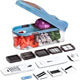 Multi Food Chopper - Fruit Cutter and Grater - Vegetable Slicer, Dicer and Shredder with Extra Sharp Blades, a Large Container & Bonus Salad Recipe eBook (12 in 1 Set) by SNM SUPREME