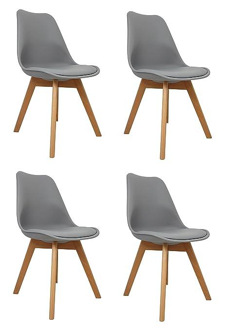 La Silla Española Salou, sillas de estilo nórdico, asiento en simil piel y patas en madera, gris, 47x42x83 cm, 4 unidades