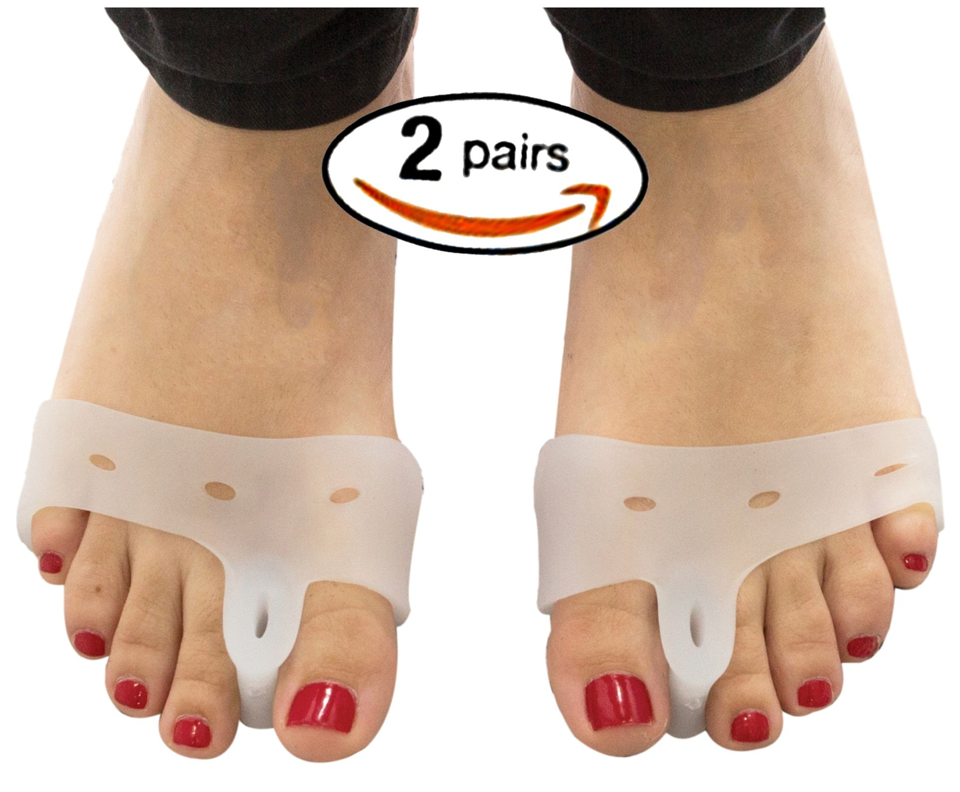 (2 Pairs) Bunion Pads and Toe Spacer Deluxe Combo/Bunion Cushion with Silicone Gel Separators - Gel Toe Straightener Bunion Relief Pads and Toe Alignment- Big Toe Separator