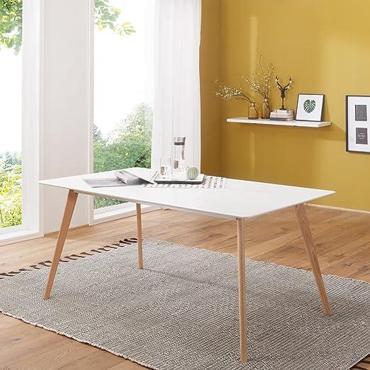 FineBuy Esszimmertisch FB5043 180x76x90 cm aus MDF Holz | Esstisch mit  Tischplatte in weiß | Robuster Küchen-Tisch im Retro Stil | Holz-Tisch in  ...