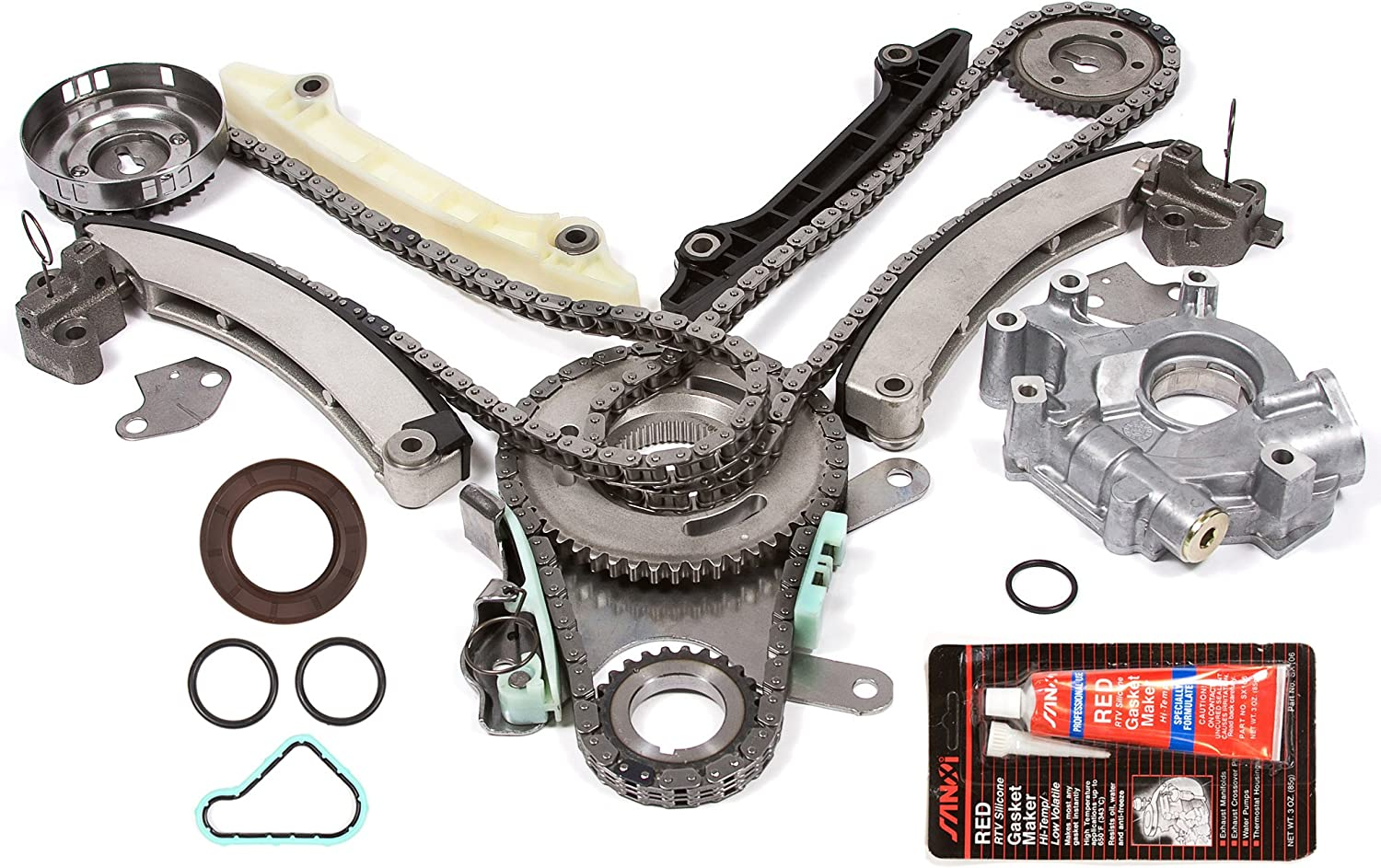 Evergreen TKTCS5037EOP Fits 02-03 Dodge Jeep 3.7L Timing Chain Kit Oil Pump Timing Cover Gasket JTEC Cam Gear