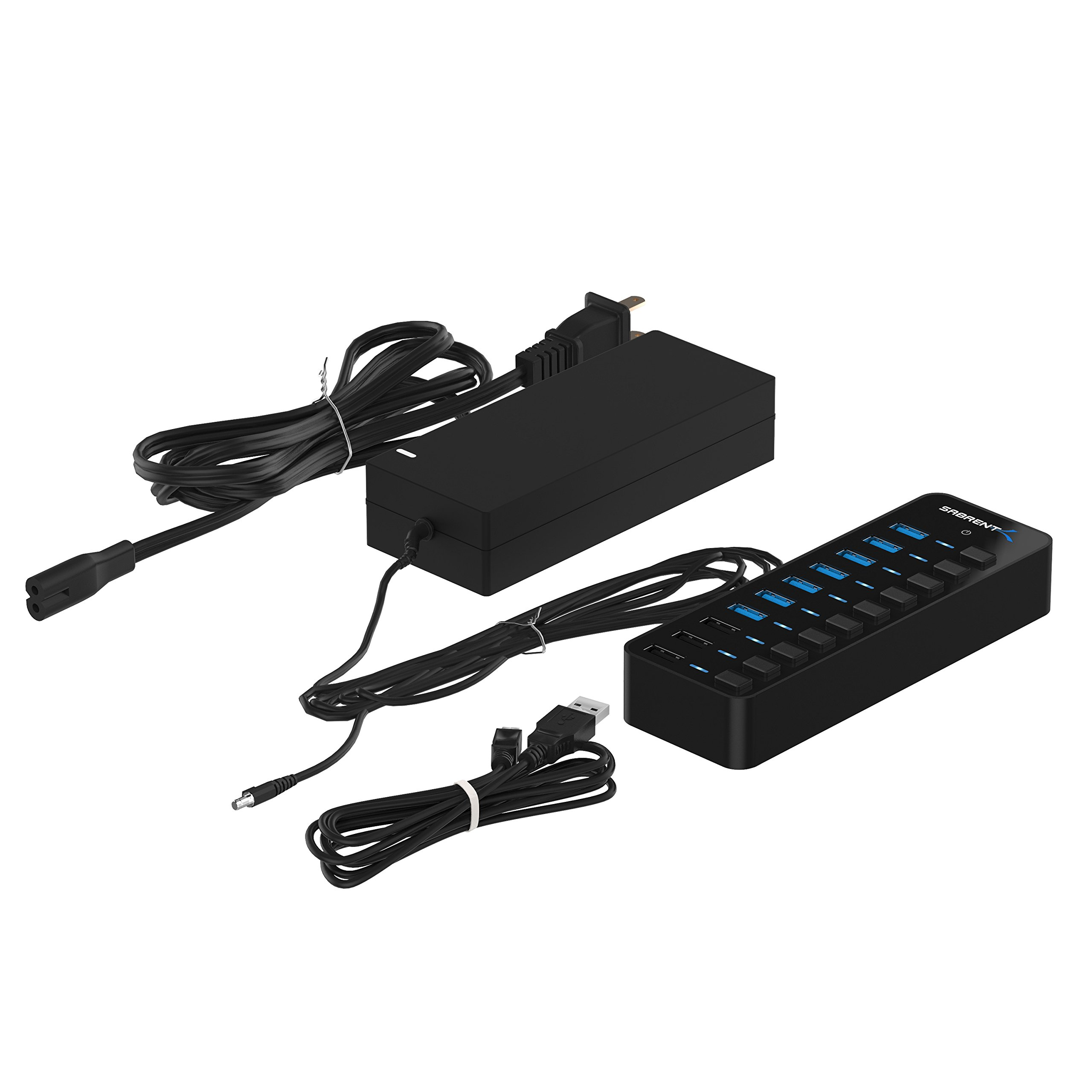 Sabrent 60W 7-Port USB 3.0 Hub + 3 Smart Charging Ports with Individual Power Switches and LEDs includes 60W 12V/5A power adapter (HB-B7C3) by Sabrent (Image #8)