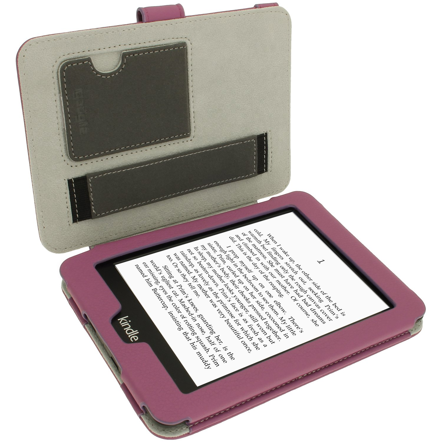 iGadgitz Purple PU 'Bi-View' Leather Case Cover for Amazon Kindle Paperwhite 2015 2014 2013 2012 With Sleep/Wake Function & Integrated Hand Strap by igadgitz (Image #4)