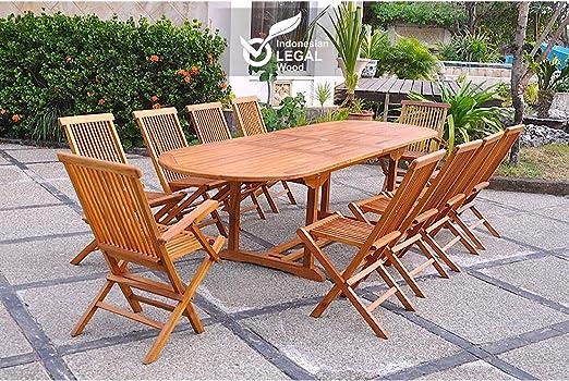 El Togo-Juego de mesa y sillas de jardín madera de teca encerada, 12/14, 2 sillones 8 pers. sillas de jardín mesa ovalada, 300 cm: Amazon.es: Hogar