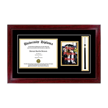 Amazon.com - Single Diploma Frame with 5x7 Photo, Tassel and Double ...