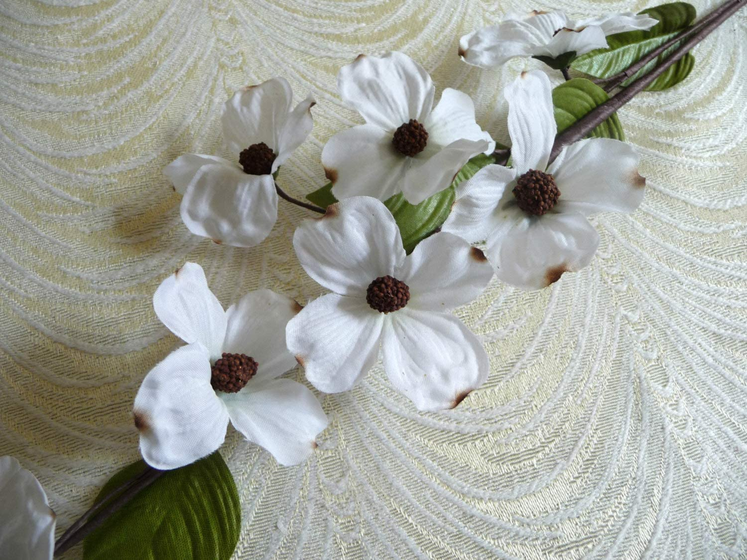 White Silk Dogwood Flowers Spray of 8 Blossoms on Twig NOS for Millinery Bouquets Weddings Hair Crowns Home Decor Crafts