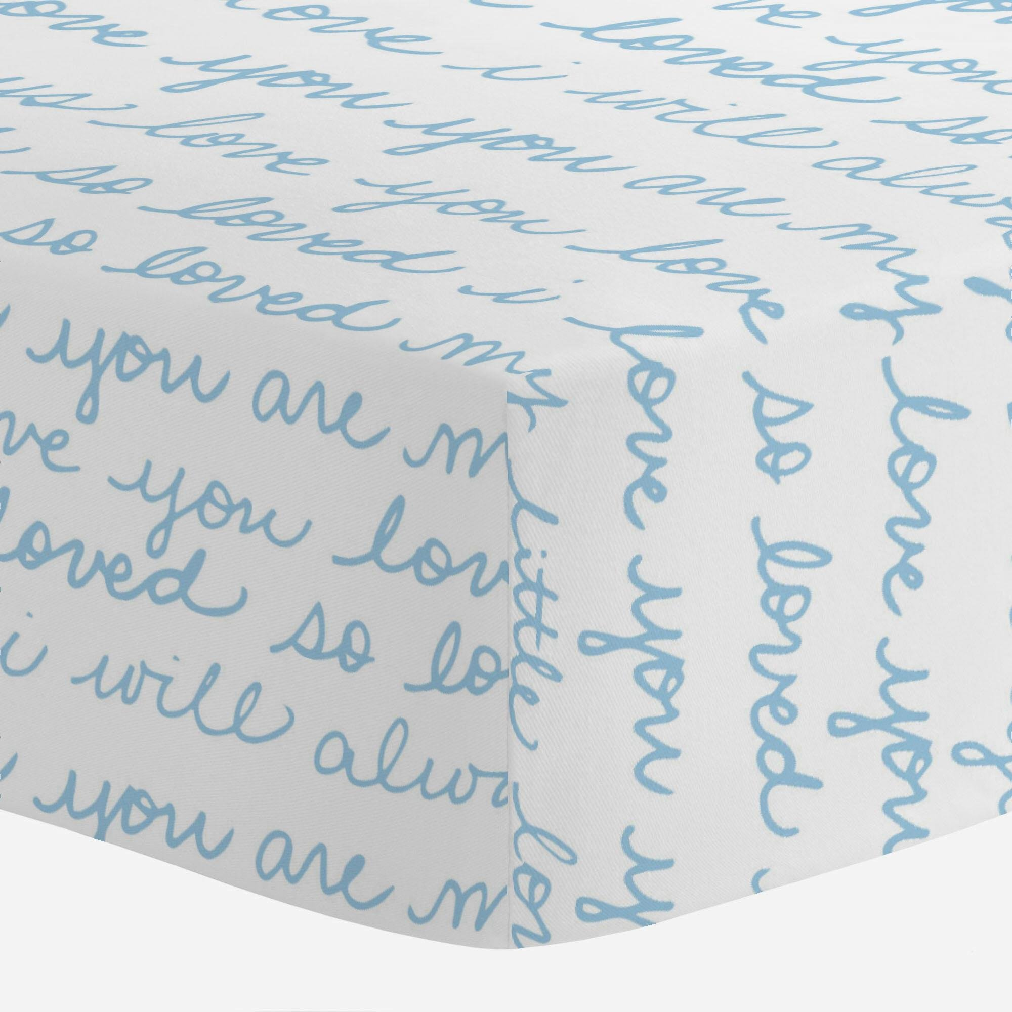 Carousel Designs Lake Blue Love Words Crib Sheet - Organic 100% Cotton Fitted Crib Sheet - Made in The USA by Carousel Designs