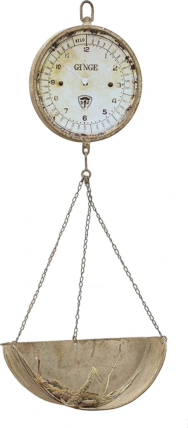 Creative Co-op Metal Reproduction of Hanging Produce Scale Clock