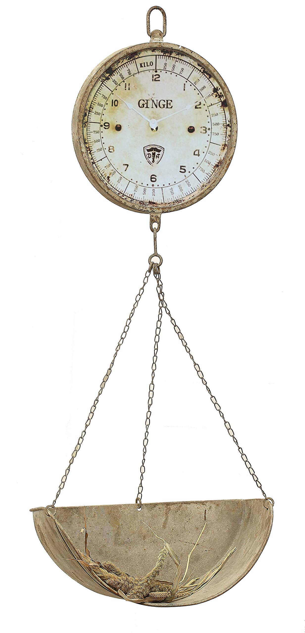 Creative Co-op Metal Reproduction of Hanging Produce Scale Clock by Creative Co-op