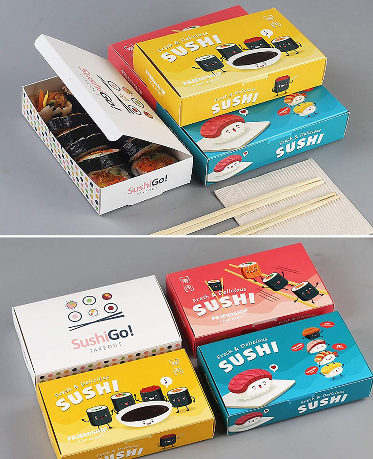 6.7 x 4 x 1.4 Inches D Hornet Park 100 Pcs Disposable Paper Lunch Boxes Japanese Style Sushi Take Out Boxes