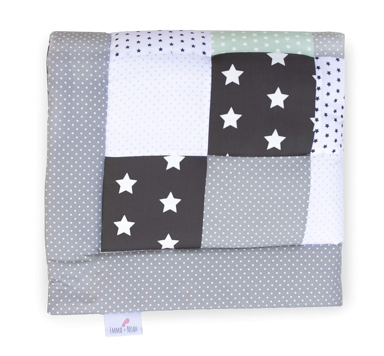 ideal como manta para beb/és edred/ón para beb/és 100x100 cm parches c/álidos y suaves Menta Esterilla de juego para beb/és Emma /& Noah esterilla de juegos acolchado para la cuna