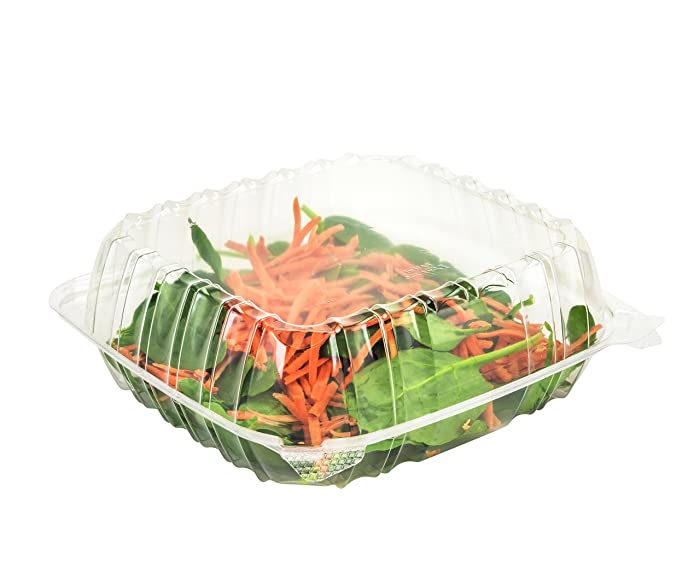 "Dart Solo Dart 8"" x 8""x 3"" Clear Plastic Hinged Food Take-Out Container 1-Compartment (pack of 50)"