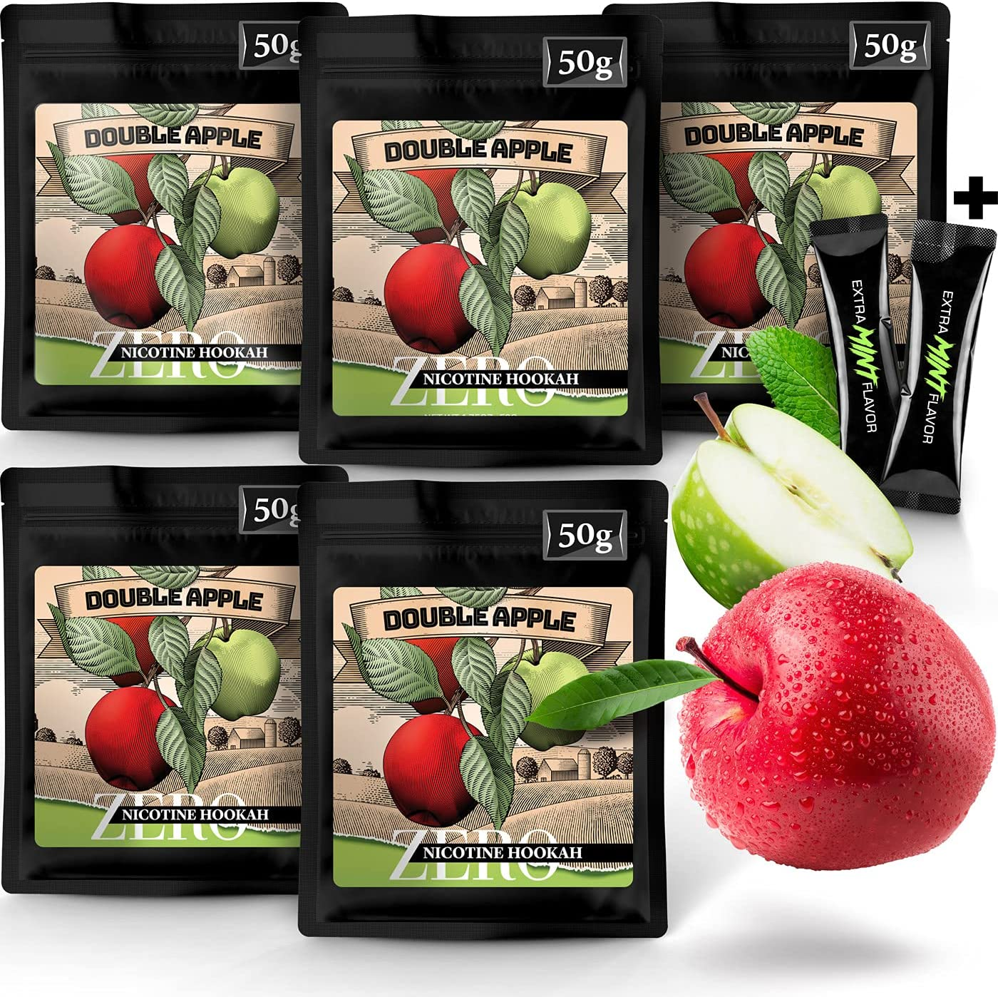 Hookah Flavors Tobacco Free and Nicotine Free. 5 Double Apple Exotic Hookah Shisha Flavors. Two Apples Herbal Molasses by Hook IT UP. (Pack of 5) 250g 8.8oz Total