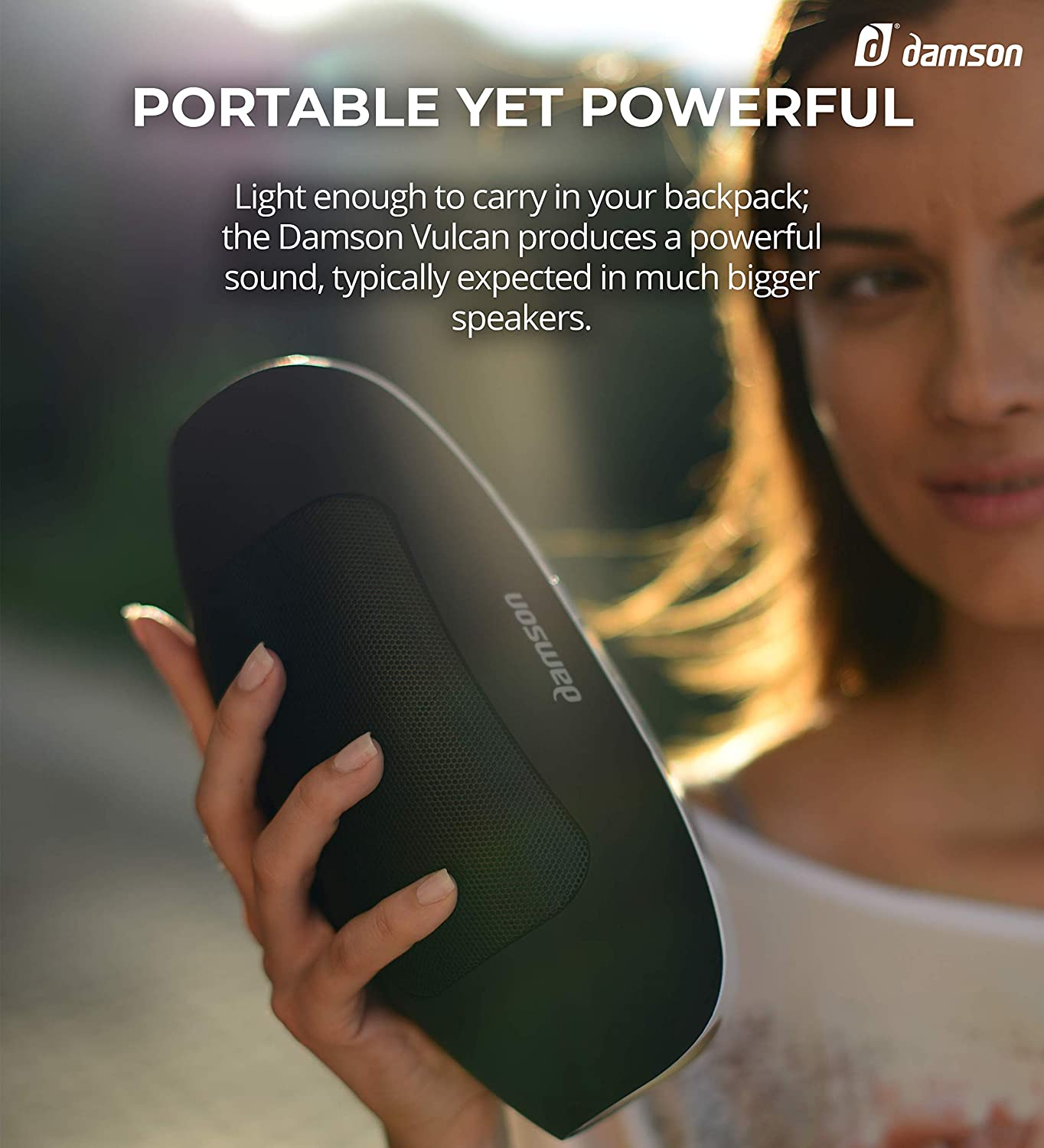Includes Carry Case and Universal Power Adapter Portable Wireless Bluetooth Surround Sound Speaker White Damson Vulcan