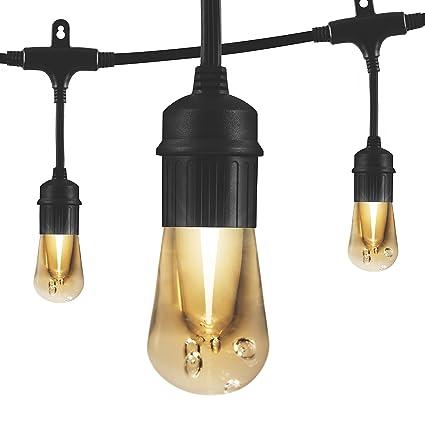 Enbrighten Vintage LED Cafe String Lights, Black, 12 Foot Length, 6 Impact Resistant