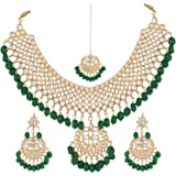 Shining Diva Fashion Jewelry Gold Plated Kundan Pearl Stylish Fancy Party Wear Wedding Necklace Set Traditional Jewellery Set with Earrings for Women & Girls