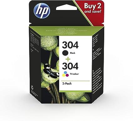Comprar HP 304 3JB05AE - Pack de 2 Cartuchos de Tinta Originales Negro y Tricolor, compatible con impresoras de inyección de tinta HP DeskJet 2620, 2630, 3720, 3730, 3750, 3760, HP Envy 5010, 5020, 5030