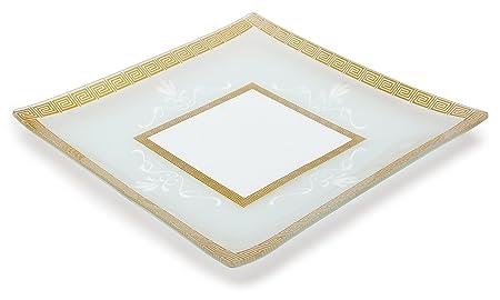 GAC grande 13 inch templado cristal bandeja plato cuadrado de ...