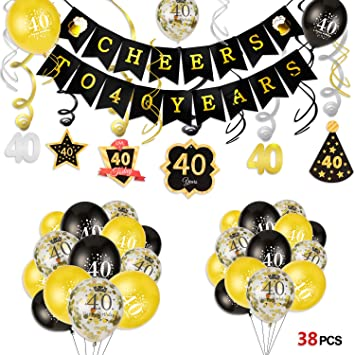 Howaf 40 Decoración para Fiestas de Cumpleaños en Negro y ...