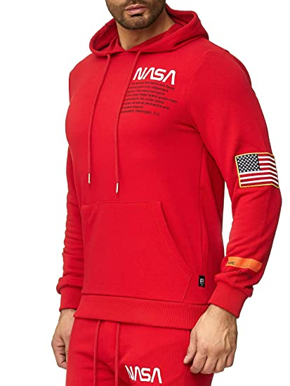 7ca31def128b21 Redbridge Herren Kapuzenpullover NASA Logo Print Sweatshirt Hoodie Pullover