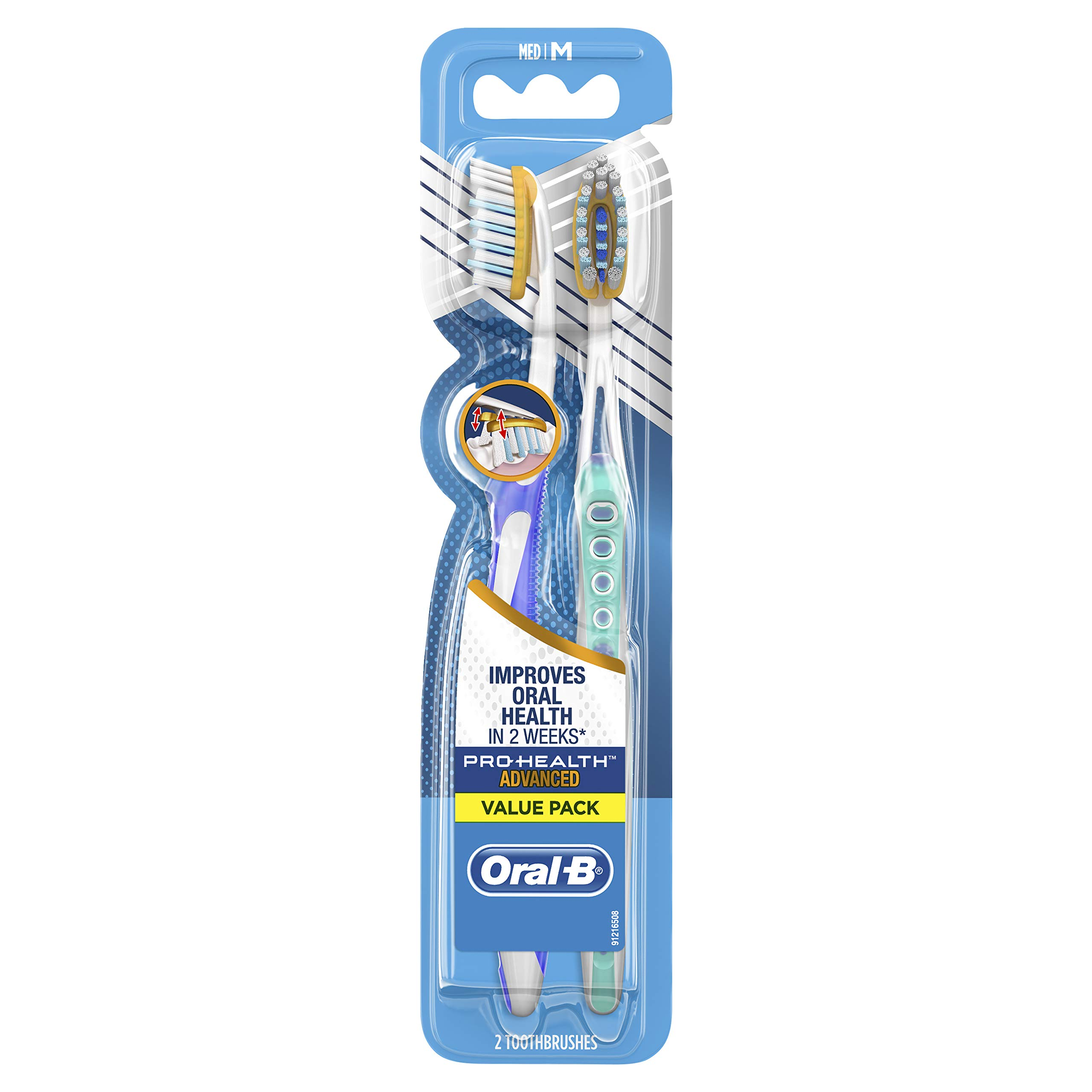 Oral-B Pro-Health Clinical Pro-Flex Toothbrush with Flexing Sides, 40M Medium, Original Version, 2 Count