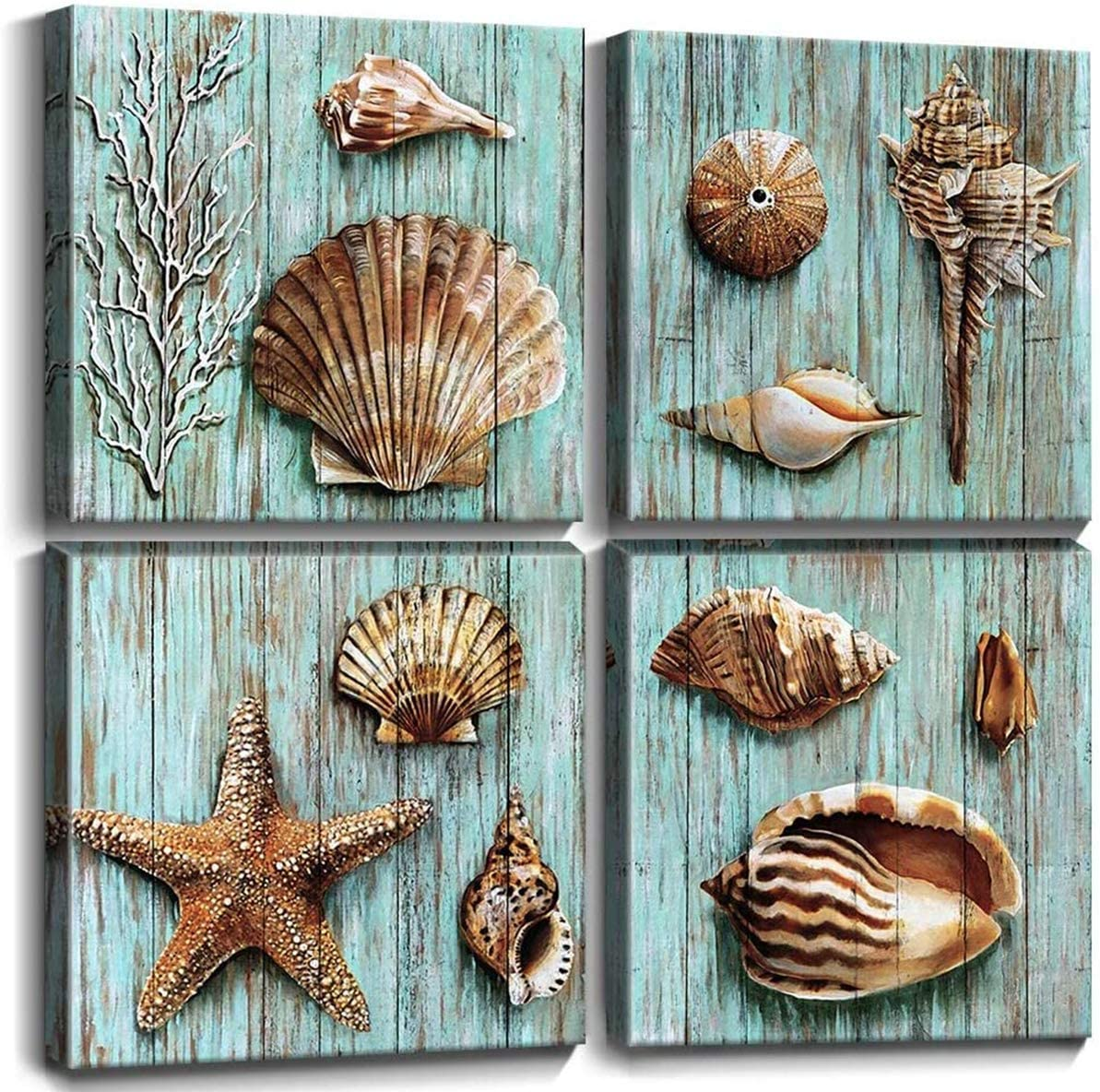 Amazon Com Blue Shells Wall Art Home Decor For Bathroom Shell Conch Framed Canvas Prints Sea Ocean Paintings Pictures Marine Life Coral Starfish Modern Large Artwork Living Room Home Decoration Set 4 Pcs