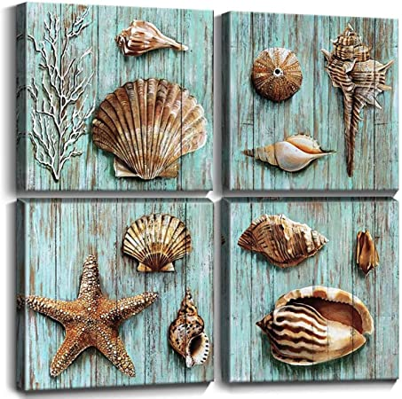 Amazon Com Teal Shells Wall Art Home Decor For Bathroom Shell Conch Framed Canvas Prints Cyan Sea Ocean Blue Plank Marine Life Coral Starfish Paintings Pictures Living Room Homes Decoration Set 4 Piece