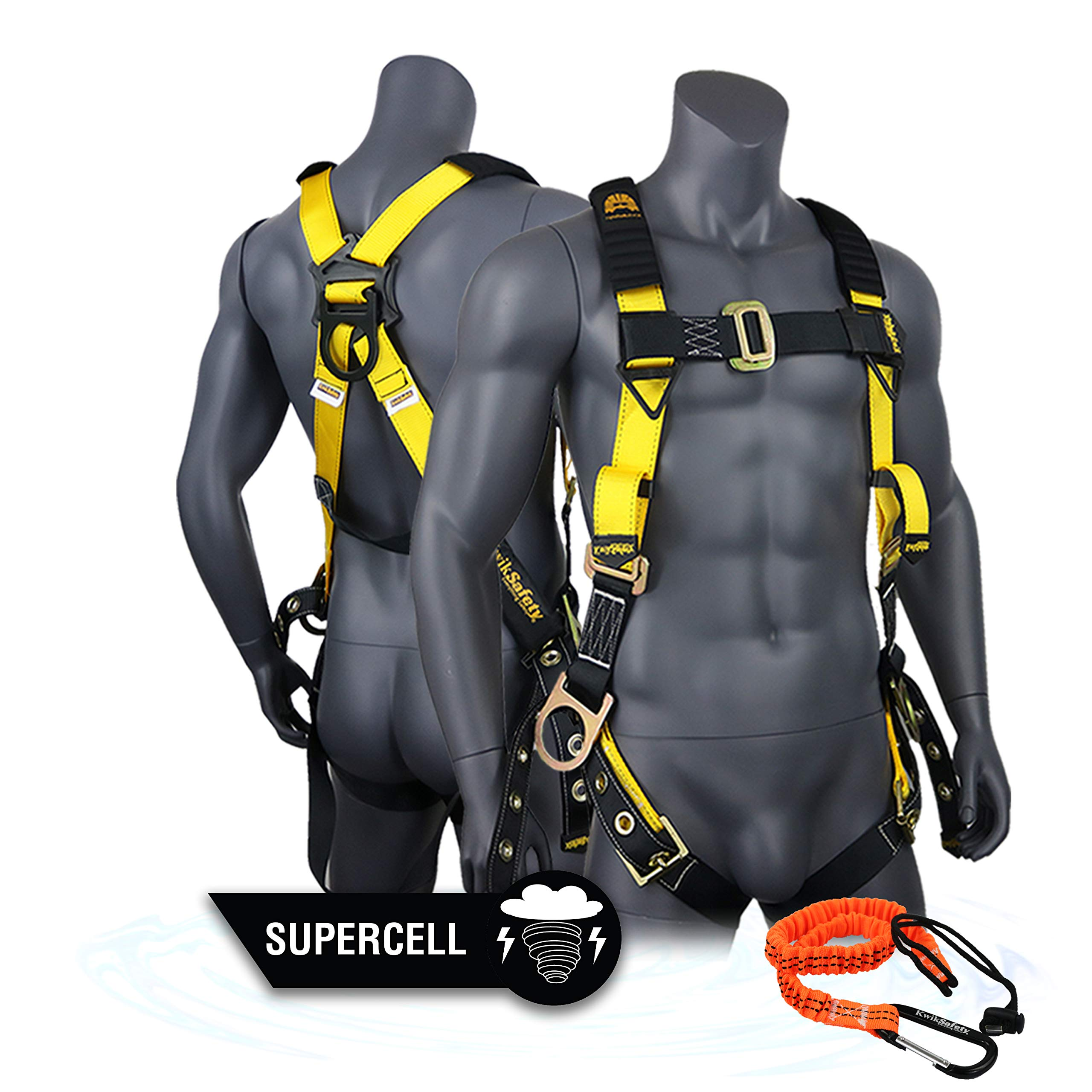 KwikSafety (Charlotte, NC) SUPERCELL Safety Harness | ANSI OSHA Full Body Personal Fall Protection | Dorsal Ring Side D-Rings Grommet Tongue Buckle Straps Tool Lanyard Construction Tower Roofing by KwikSafety