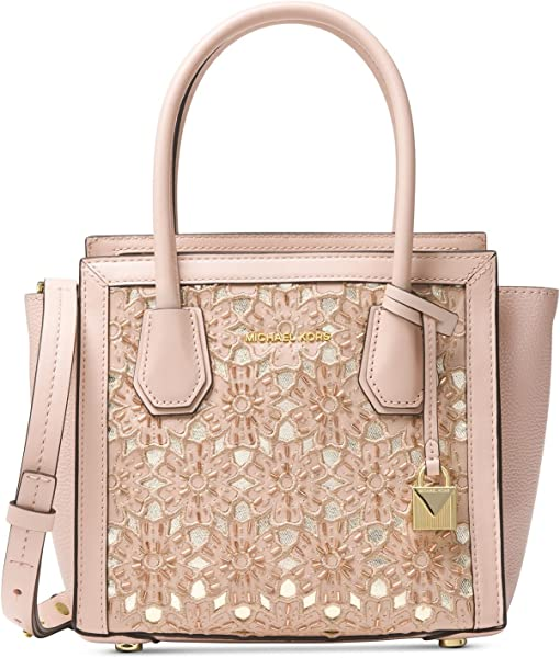 0278665bbe Amazon.com  Michael Kors Mercer Medium Floral Leather Messenger Bag ...