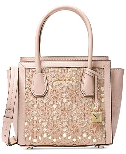 b4aa8cc78db Amazon.com  Michael Kors Mercer Medium Floral Leather Messenger Bag SOFT  PINK  Shoes