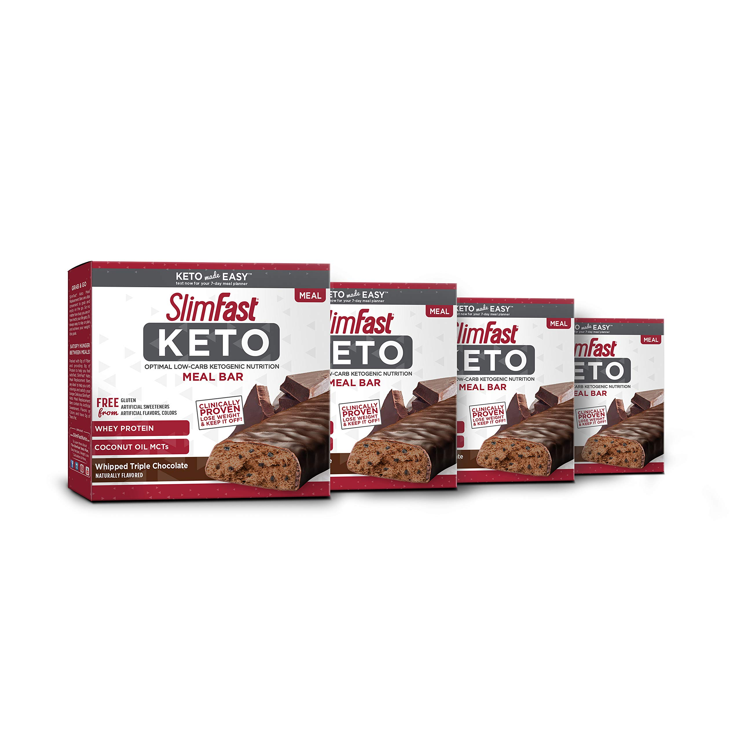 SlimFast 4 Piece Keto Meal Replacement Bar Triple Chocolate, 2.7 Pound by SlimFast (Image #1)