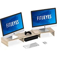 FITUEYES Dual Monitor Stand Riser 3 Shelf Length and Angle Adjustable Fit Dual Computer Screens, Beige DT108006WO