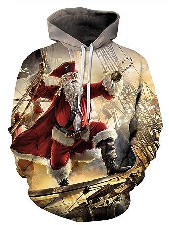 5a1f241fb5912b Leezeshaw Christmas Hoodie Unisex 3D Print Ugly Santa Xmas Hooded Pullover  Sweatshirt with Big Pocket S-3XL  Amazon.co.uk  Clothing