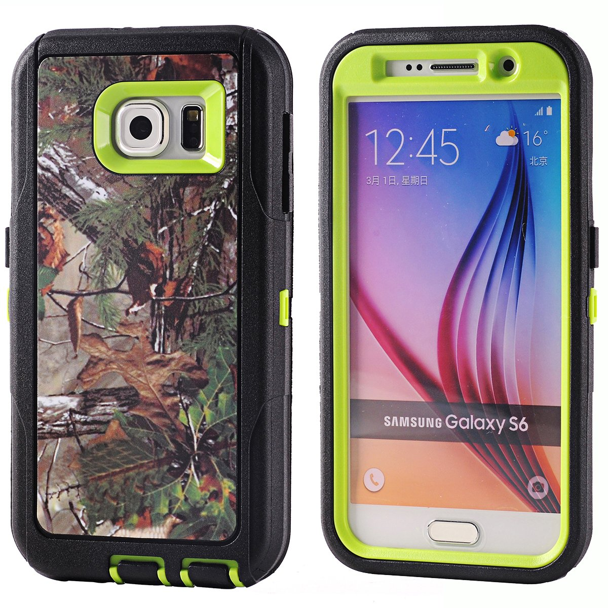 Keckotm Heavy Duty Defender 3 Layer Tough Rubber Lifeproof Samsung Galaxy S6 Fre Case 77 51242 Black Water Resistant Natural Tree Camo Rugged Silicon Impact Built In Screen Protector Hybrid W Camouflage Wood Design For Att